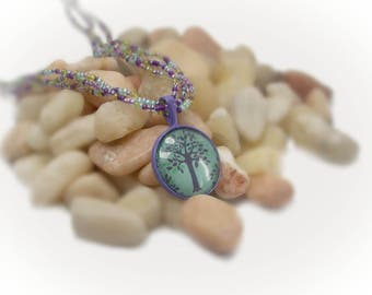 Tree Of Life Pendant Multi Strand Necklace Beaded Necklace Seed Bead Necklace Enamel Jewelry Enamel Necklace Enamel Pendant  - 14027