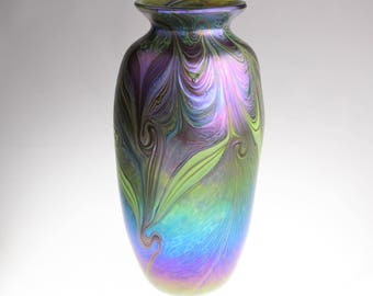 Art Glass Vase by Eric W. Hansen with Iridescent Feathers