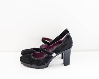 COACH mary jane chunky heels - black suede leather - women's size 10
