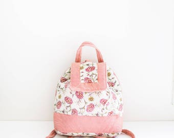 floral red fabric embroidered backpack bag