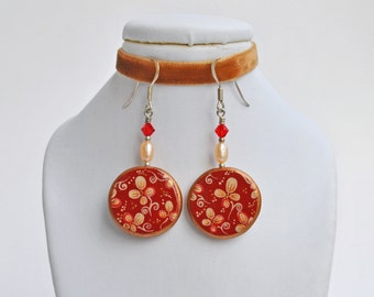 Handpainted luxurious vintage style earrings (ready to ship)