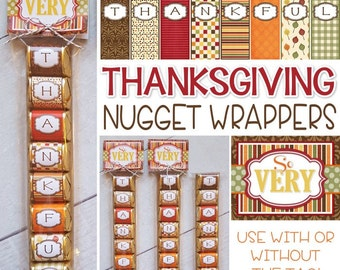 THANKFUL Chocolate Nugget Wrappers, Give Thanks Favor or Turkey Day Treat - Printable Instant ...