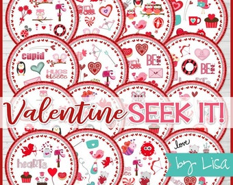 VALENTINE SEEK IT Match Game, Class Party Games, Party Favor, Family Game Night, Matching Game Cards - Printable Instant Download by Lisa
