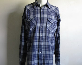 Vintage MWG 80s Plaid Shirt Blue Plaid 1980s Rockabilly Western Country Shirt Large
