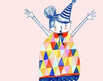 Party Dress - Childrens Art - Triangles - Birthday - Girls birthday - Watercolor - Emily Burnette - Recipe 4 Cute