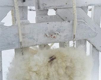felted alpaca fur crossbody bag clutch purse White Lace C