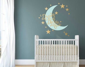 Stars and Moon Nursery Wall Decal Dream Big Little One - Nursery Wall Decal Quote with Crescent Moon and Stars Decals - WB091