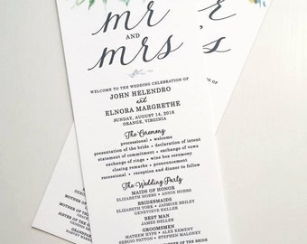 Watercolor Wedding Programs | Printable Wedding Program | Wedding Programs | Print Your Own wedding program | program Digital file
