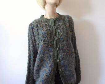 Vintage Wool Cardigan Sweater - fuzzy angora button front cable knit jumper - classic vintage