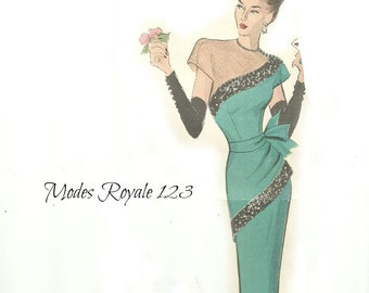 Rare Modes Royale Pattern 123 ca 1950, Elegant Evening Gown with Peplum Size 12