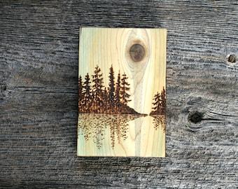 Waters Edge - Wood burned Landscape Art on Wood