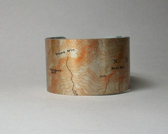 Appalachian Trail Map Grafton Loop Sargent Brook Stowe Bald Mountain Maine Cuff Bracelet for Men or Women