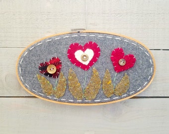 Embroidery Hoop Art- Red Hearts