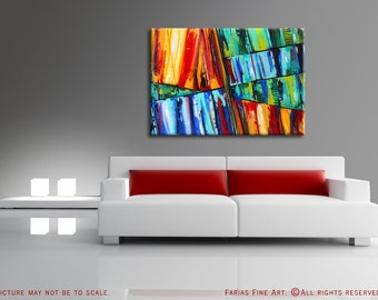 31x44 ORIGINAL Abstract Painting BIG Modern Acrylic Colorful Fine Art by Federico Farias