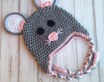 Mouse hat, Sizes 6 months to Womens, Crochet hat, Photography Prop, Child Hat, Toddler Hat, Winter hat