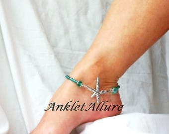 Teal Starfish Anklet Cruise Ankle Bracelet Beach Anklet Body Jewelry