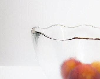 Modernist Frosted Clear Glass Serving Bowl Mid Century Platinum Rimmed Art Glass Centerpiece Bowl Large Salad Fruit Bowl Vintage Mod Retro
