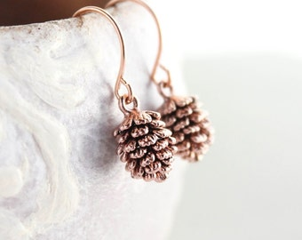 Rose Gold Pinecone Earrings Small Pinecone Drop Nature Jewellery Woodland Wedding Little Dangles Stocking Stuffer Gift for Her Women