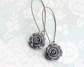 Grey Rose Earrings Long Dangles Romantic Bridesmaid Gift Flower Earrings Bridal Acessories Nickel Free Slate Pewter Grey Wedding