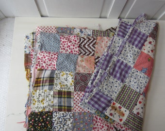 "Vintage Patchwork Quilt Top - Hand Stitched Cotton - Twin 62"" x 74"" - 1970's Boho Home Decor"