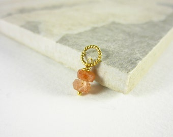 Gem Stack - Oregon Sunstone Jewelry - Orange Sunstone Pendant - Natural Stone Necklace Charms - 14k Gold Charms - Crystals and Stones