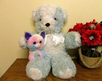 Vintage Blue Teddy Bear -1970's Plush Toy