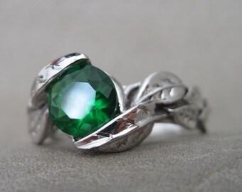 Leaf Engagement Ring, Green Stone Leaf Engagement Ring, Green Stone White Gold Engagement Ring, Gold Leaves Ring, Natural Floral Forest Ring