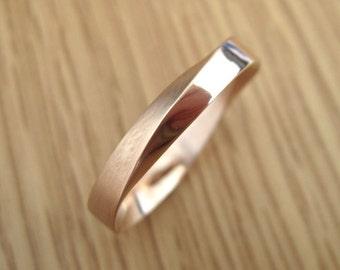 Wedding Ring, 4.5mm Mobius Wedding Band, Wide Mobius Wedding Band, Modern Infinity Mobius Strip Ring, Rose Gold Mobius Wedding Band