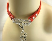 Bdsm day collar discreet Double Heart submissive Collar mature Submissive jewelry fetish slave collar red leather bdsm jewelry