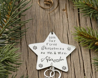 Our First Christmas Together Mr. & Mrs. 2016 or 2017 Personalized Wedding Star Ornament