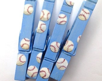 BASEBALLS hand painted magnetic clothespin set light blue party favor