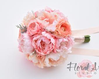 Wedding bouquet, Silk peony bouquet, Blush peony bridal bouquet, Peony and Ranunculus wedding bouquet, Wedding flowers - SEASIDE ROMANCE.