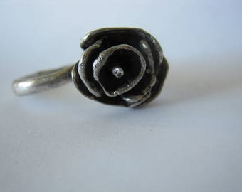 Vintage Silver Rose Ring Handcrafted Size 7 - 7 .5