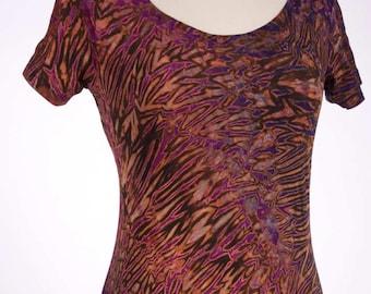 S Shibori Women's Scoop Neck Tie Dye T Shirt Purple Black Small