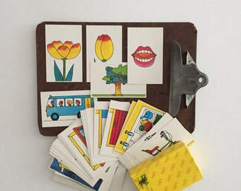 educational school picture word flash card set / vintage paper, craft
