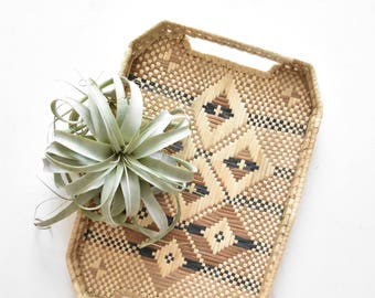 decorative woven straw wood basket table tray with handles / diamond
