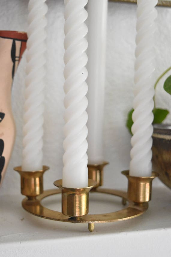 solid brass candelabra candle holder / candlestick holder with wax candles