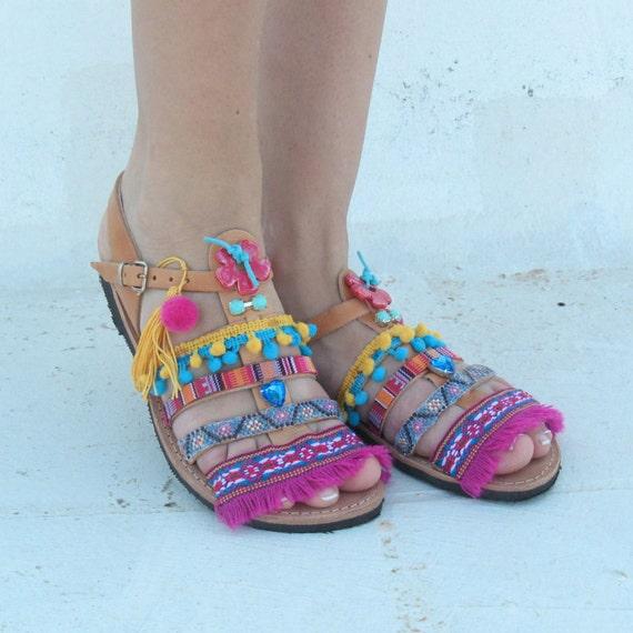 Ethnic sandals, Leather Sandals Boho /womens gladiator sandals! Greek leather sandals sandales grecques femme cuir