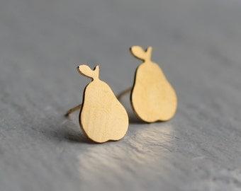 Pear Stud Earrings ... Gold Fruit Post Earrings
