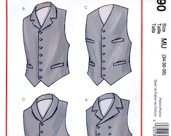 McCall's M4890 Sewing Pattern for Men's Vintage Lined Vest Costume - Uncut - Sizes 34, 36, 38