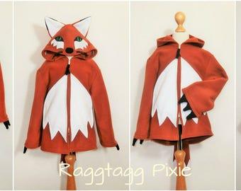 FOX HOODIE Costume, Woodland Fox, Animal, fox ears, fox tail, Fleece, Jacket, Fancy Dress, Costume