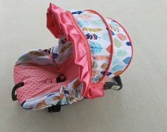 Baby Car Seat Cover, Feathers and coral ruffle Infant girl car seat cover, Baby girl slipcover - Custom order - Free Strap Covers