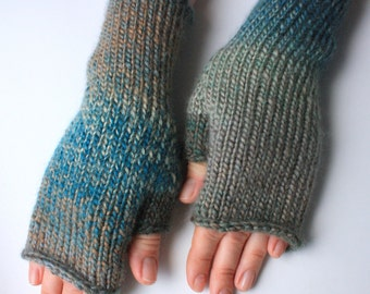 40% OFF Fingerless Gloves (Wrist Warmers, Fingerless Mittens, Fingerless Mitts) - Multicolor with blue and gray