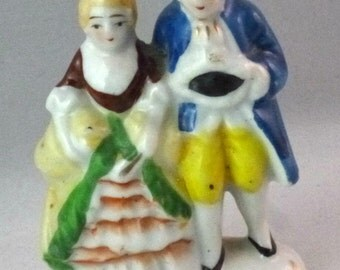 Vintage Colonial Man and Woman Figurine, Made in Occupied Japan, 1945-1947