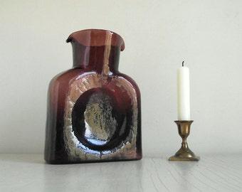 Blenko Glass Water Bottle , Double Spout Carafe , Amethyst Glass Pitcher , Glass Vase , Collectible Blenko Art Glass , Modern Decor