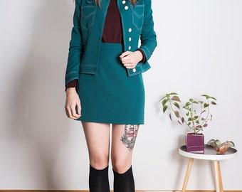 Beagle collar jacket skinheadgirl 70s green 1960s Skinhead Mod suedehead Custom made