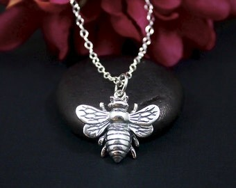Sterling Silver Large Bee Necklace, Honeybee Necklace, Bee Charm Necklace, Bumble Bee Necklace, Bee Jewelry, Queen Bee Necklace, Bee Keeper