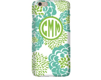 Monogram iPhone 7 Plus * 7 * 6/6S Plus * 6/6S * SE premium teal peony phone case personalized with name or initials