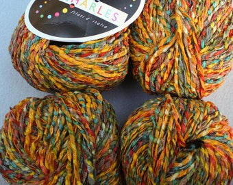 2 balls Variegated Yarn Italian in shades orange green aqua Asti from Stacy Charles aran weight