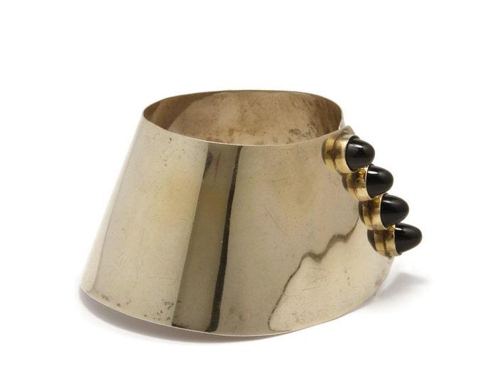 Modernist Sterling Onyx Stud Bracelet, Made in Germany, 1950's Jewelry, Sterling Silver, Mid Century Modern, Demi Parure, Hallmarked
